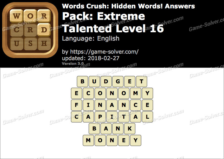 Words Crush Extreme-Talented Level 16 Answers