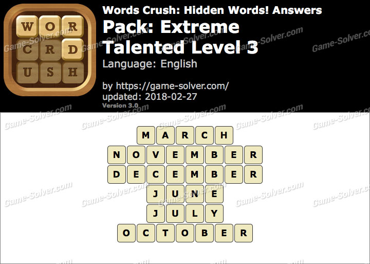 Words Crush Extreme-Talented Level 3 Answers