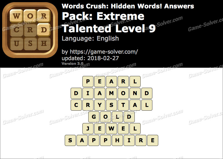 Words Crush Extreme-Talented Level 9 Answers