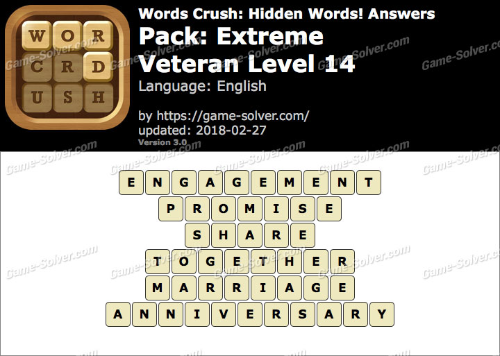 Words Crush Extreme-Veteran Level 14 Answers