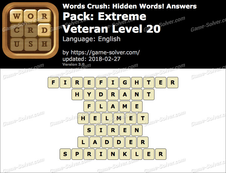 Words Crush Extreme-Veteran Level 20 Answers