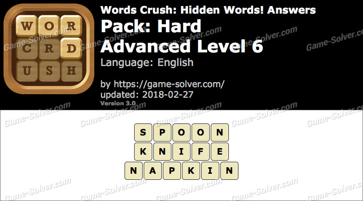 Words Crush Hard-Advanced Level 6 Answers