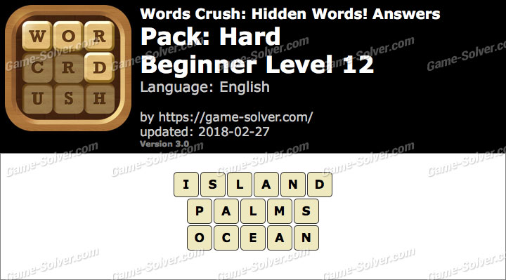 Words Crush Hard-Beginner Level 12 Answers