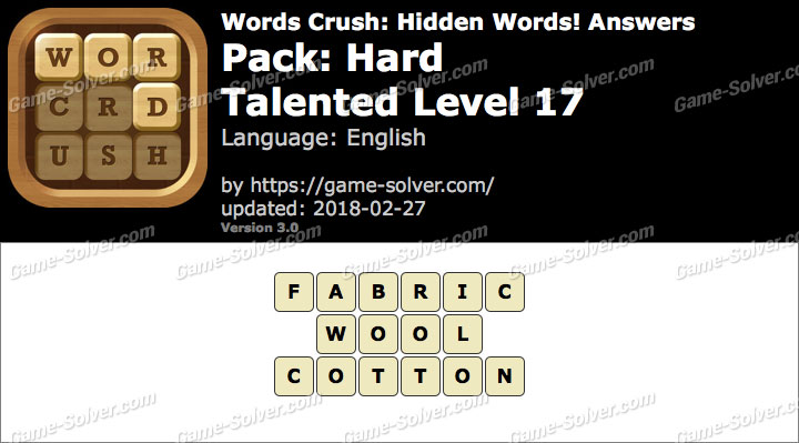 Words Crush Hard-Talented Level 17 Answers