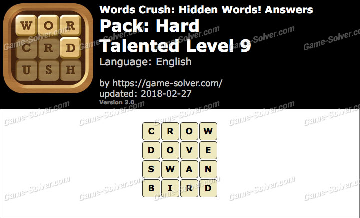 Words Crush Hard-Talented Level 9 Answers
