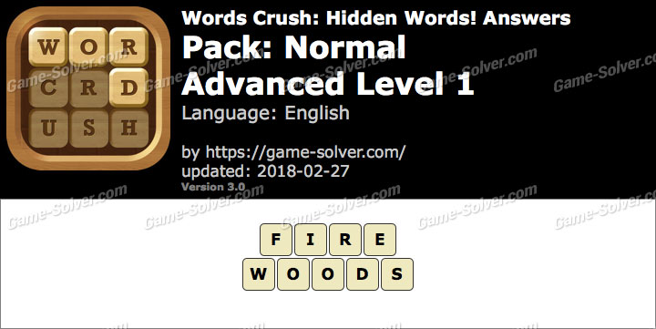 Words Crush Normal-Advanced Level 1 Answers