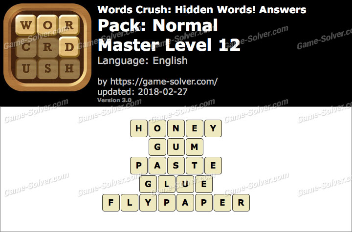 Words Crush Normal-Master Level 12 Answers