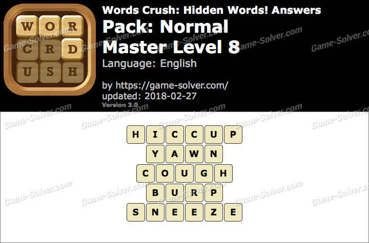 Words Crush Normal-Master Level 8 Answers
