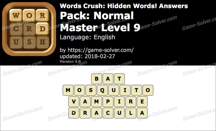 Words Crush Normal-Master Level 9 Answers
