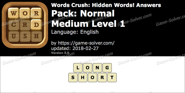 Words Crush Normal-Medium Level 1 Answers