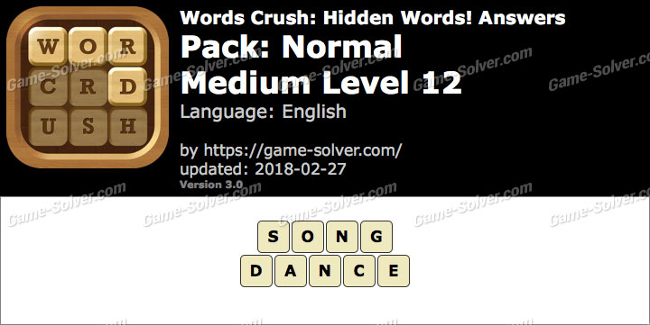 Words Crush Normal-Medium Level 12 Answers