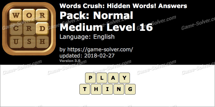 Words Crush Normal-Medium Level 16 Answers