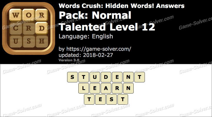 Words Crush Normal-Talented Level 12 Answers