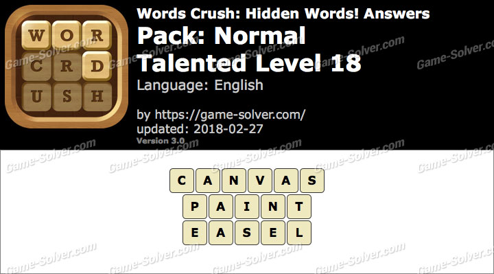 Words Crush Normal-Talented Level 18 Answers