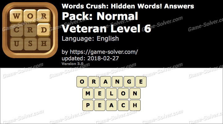 Words Crush Normal-Veteran Level 6 Answers