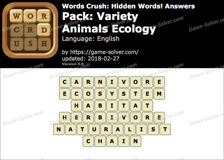 Words Crush Variety-Animals Ecology Answers