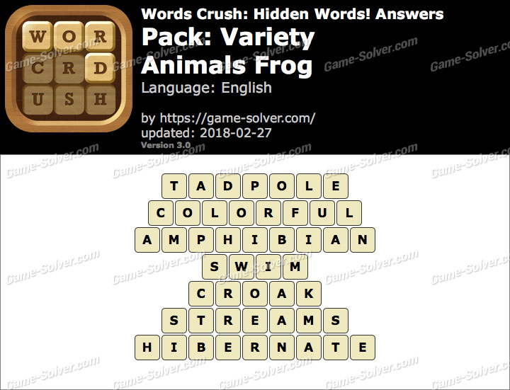 Words Crush Variety-Animals Frog Answers