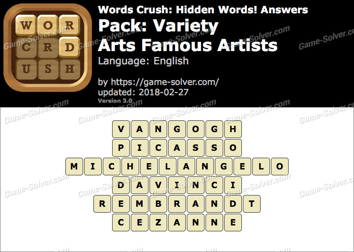 Words Crush Variety-Arts Famous Artists Answers