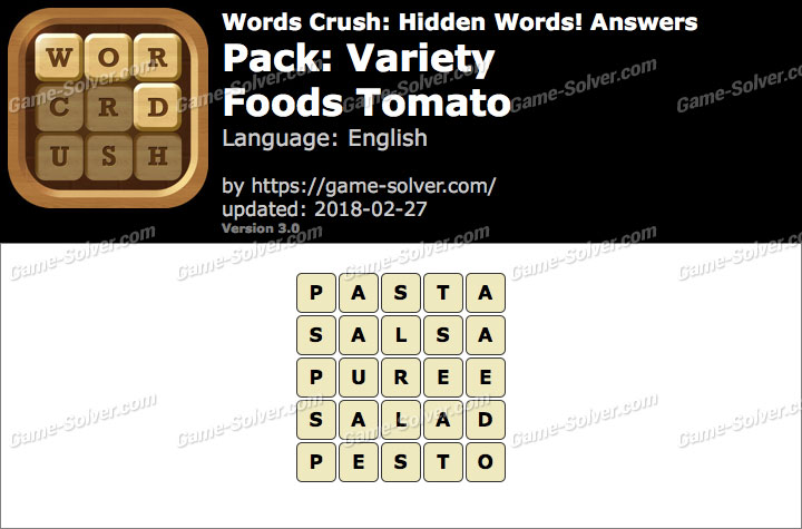 Words Crush Variety-Foods Tomato Answers