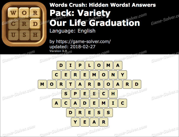 Words Crush Variety-Our Life Graduation Answers