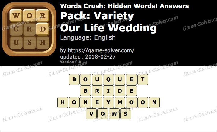 Words Crush Variety-Our Life Wedding Answers