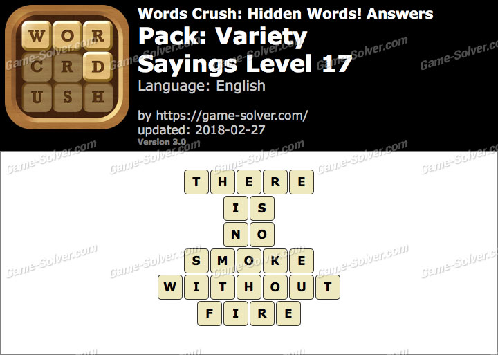 Words Crush Variety-Sayings Level 17 Answers