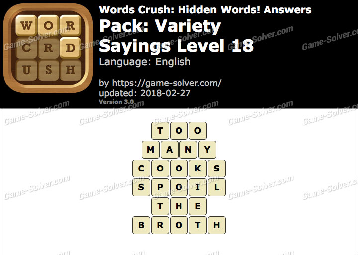 Words Crush Variety-Sayings Level 18 Answers