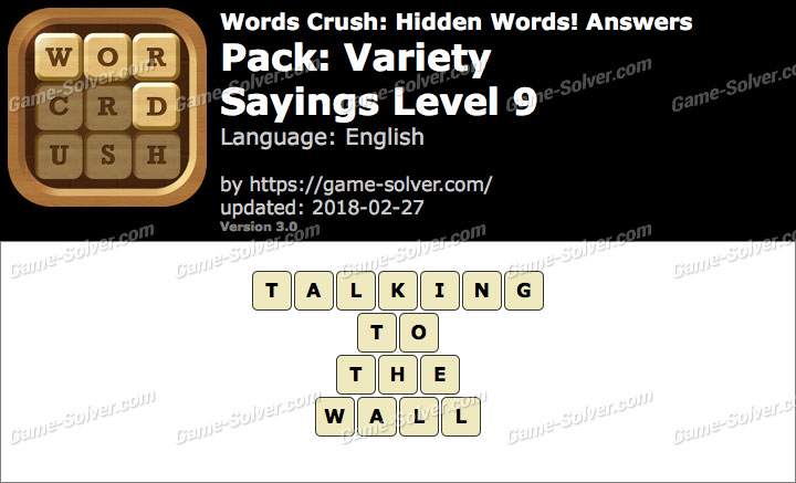 Words Crush Variety-Sayings Level 9 Answers
