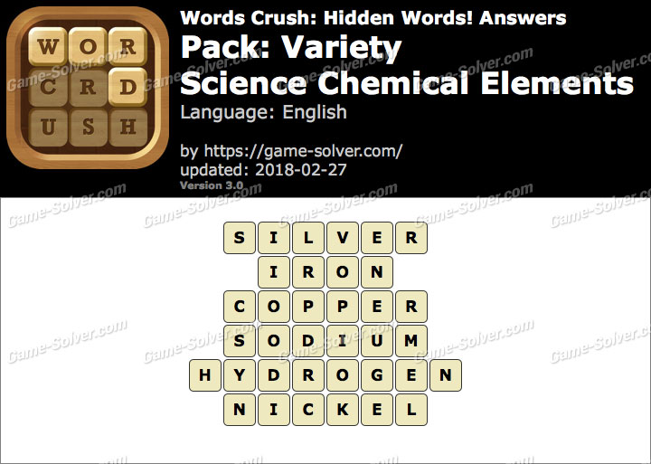 Words Crush Variety-Science Chemical Elements Answers