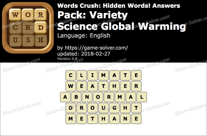 Words Crush Variety-Science Global Warming Answers