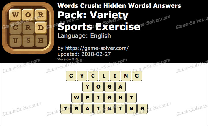 Words Crush Variety-Sports Exercise Answers