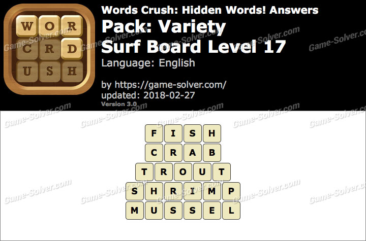Words Crush Variety-Surf Board Level 17 Answers