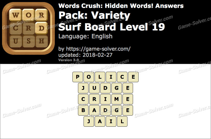 Words Crush Variety-Surf Board Level 19 Answers