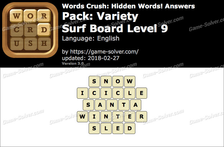 Words Crush Variety-Surf Board Level 9 Answers