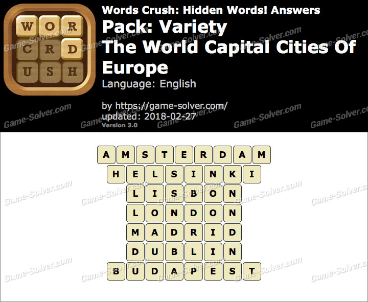 Words Crush Variety-The World Capital Cities Of Europe Answers