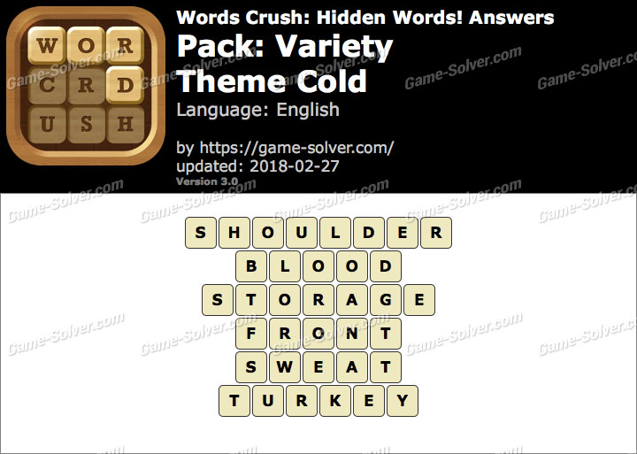 Words Crush Variety-Theme Cold Answers