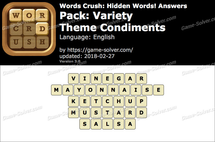 Words Crush Variety-Theme Condiments Answers