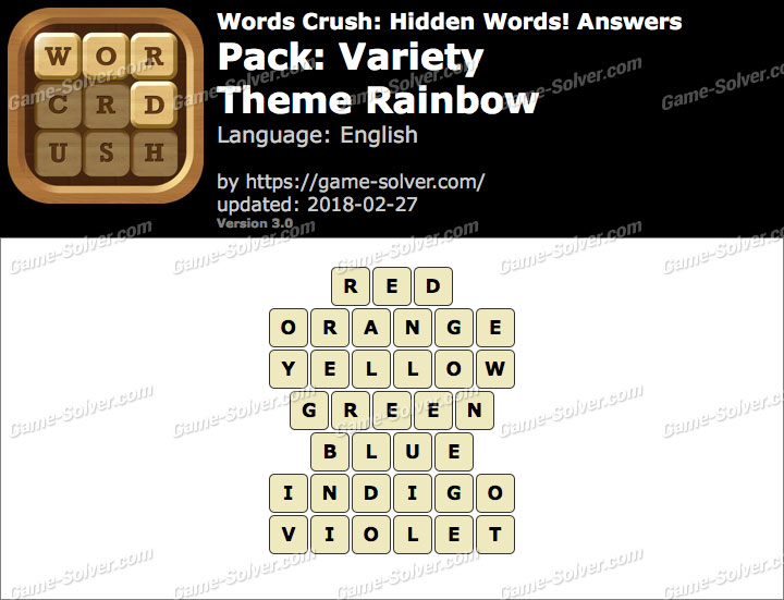 Words Crush Variety-Theme Rainbow Answers