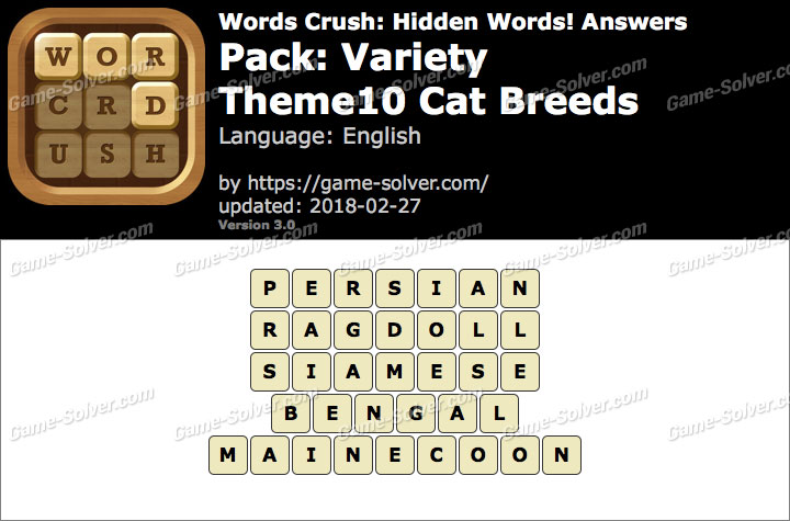 Words Crush Variety-Theme10 Cat Breeds Answers