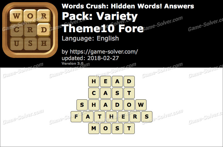 Words Crush Variety-Theme10 Fore Answers
