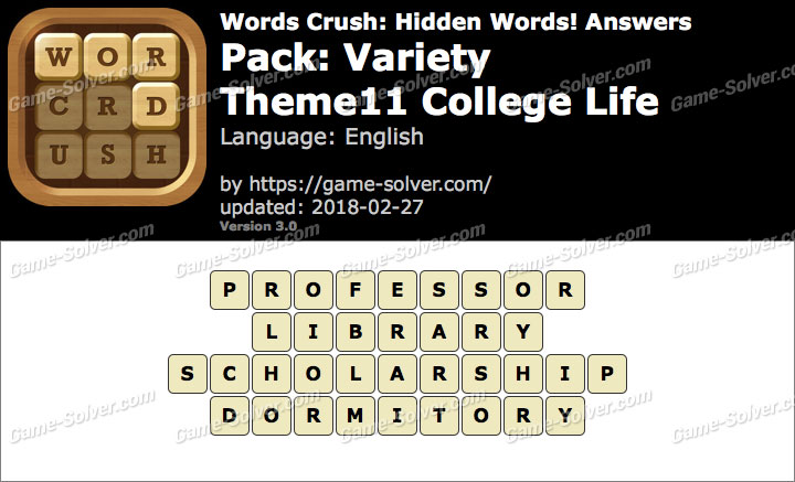 Words Crush Variety-Theme11 College Life Answers