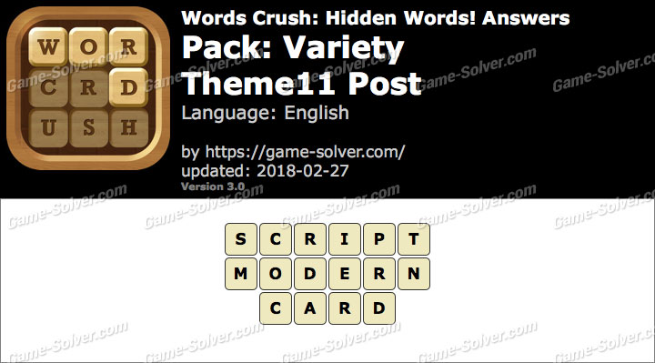 Words Crush Variety-Theme11 Post Answers