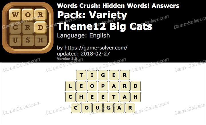 Words Crush Variety-Theme12 Big Cats Answers