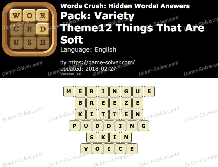 Words Crush Variety-Theme12 Things That Are Soft Answers