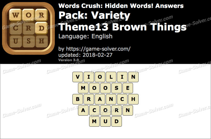 Words Crush Variety-Theme13 Brown Things Answers