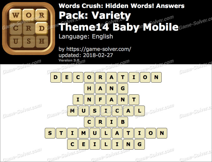 Words Crush Variety-Theme14 Baby Mobile Answers