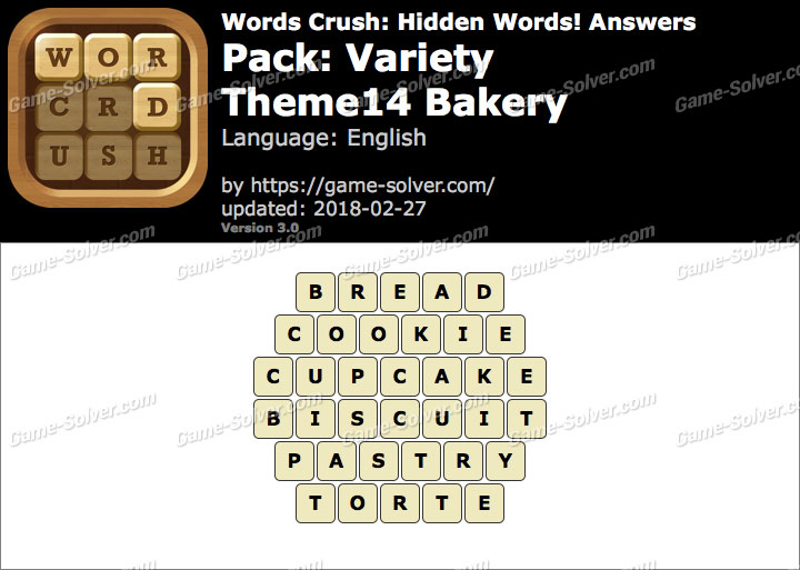 Words Crush Variety-Theme14 Bakery Answers
