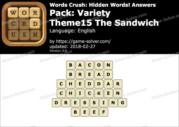 Words Crush Variety-Theme15 The Sandwich Answers
