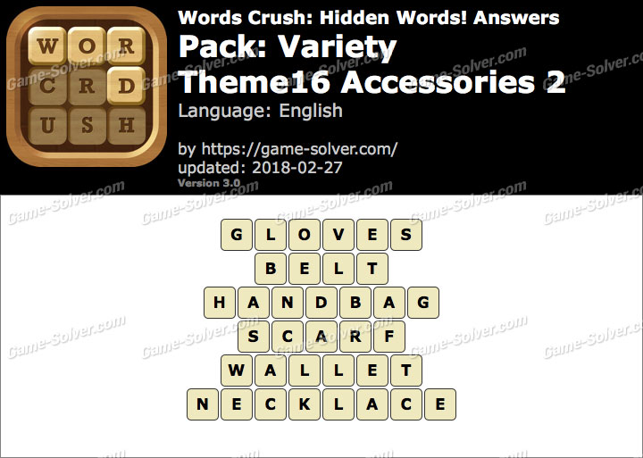 Words Crush Variety-Theme16 Accessories 2 Answers