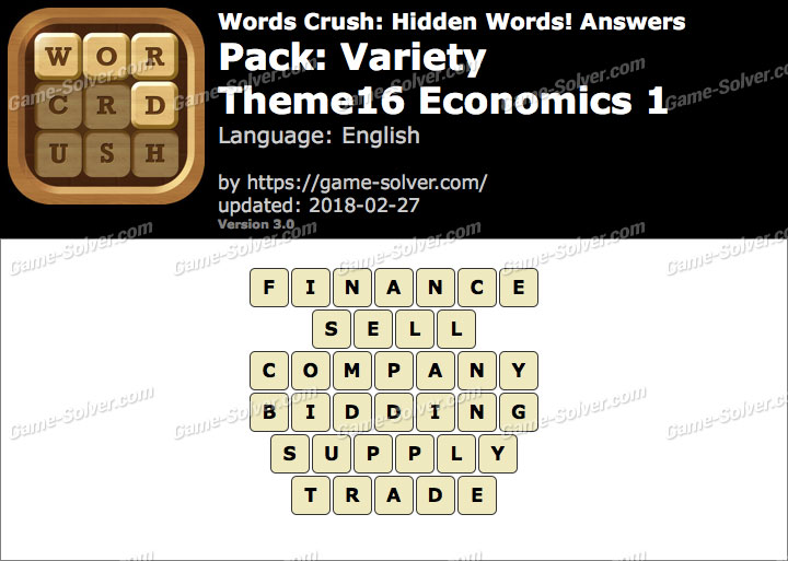 Words Crush Variety-Theme16 Economics 1 Answers
